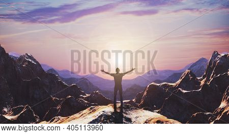 Silhouette Of Free Man Hiker Open Arms At Mountain Top Cliff Edge. 3d Rendering