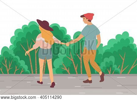 Couple Walking Down The Street. Young Guy And Girl Holding Hands, Stroll In Summer Day In City Park,