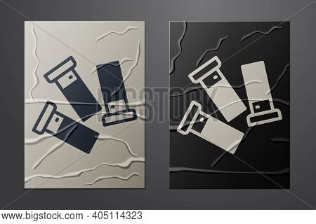 White Cartridges Icon Isolated On Crumpled Paper Background. Shotgun Hunting Firearms Cartridge. Hun