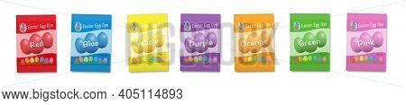 Easter Egg Dye Sachets Rainbow. Set With Seven Favorite Colors Red, Orange, Yellow, Green, Blue, Pur