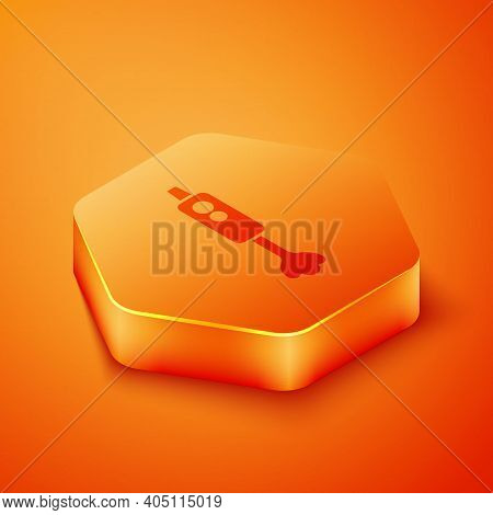 Isometric Blender Icon Isolated On Orange Background. Kitchen Electric Stationary Blender With Bowl.