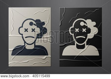 White Murder Icon Isolated On Crumpled Paper Background. Body, Bleeding, Corpse, Bleeding Icon. Conc