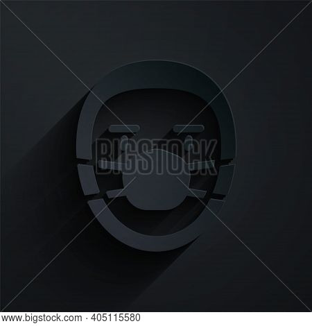 Paper Cut Doctor Pathologist Icon Isolated On Black Background. Paper Art Style. Vector