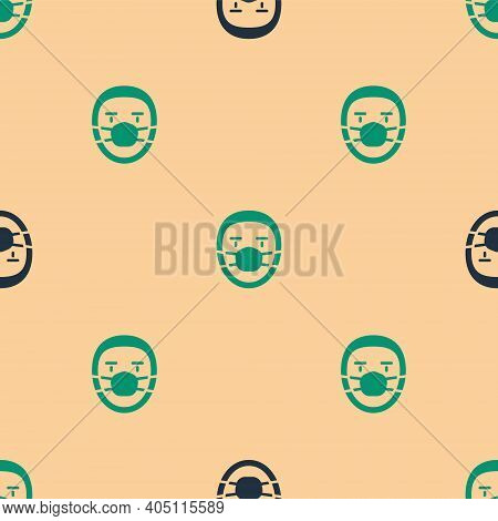 Green And Black Doctor Pathologist Icon Isolated Seamless Pattern On Beige Background. Vector
