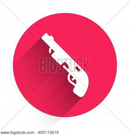 White Police Shotgun Icon Isolated With Long Shadow. Hunting Shotgun. Red Circle Button. Vector