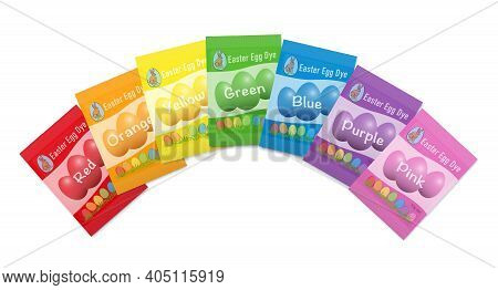 Egg Dye Sachets. Different Colorful Paper Packets With Red, Orange, Yellow, Green, Blue, Purple And