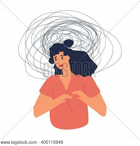 Sad Frustrated Woman With Nervous Problem Feel Anxiety, Headache, Unresolved Issues, Psychological T