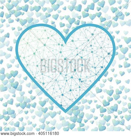 Cyber February 14. Geometric Heart Mesh In Green Blue Color Shades, Green Blue Connections. Appealin
