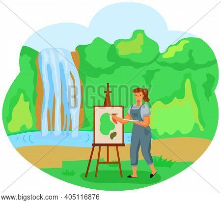 A Girl Paints A Landscape Picture Standing In The Glade Near A Waterfall And Green Trees On The Back