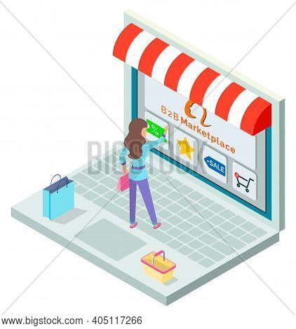 Online Shop, Isometric 3d Laptop. Customer Woman Choosing Products At Website. Coupon With Discount,