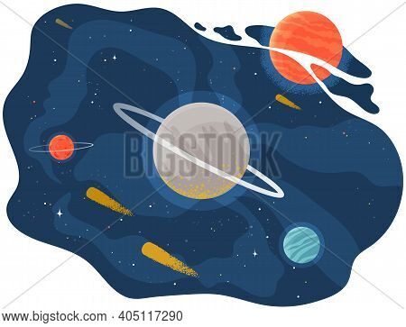 Cartoon Red Fantastic Planet On Lilac Space Background With Flying Meteorites And Comets. Satellites