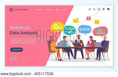 Statistical Data Analysis, Businesspeople Analysing Information, Talking And Discussing About Work S