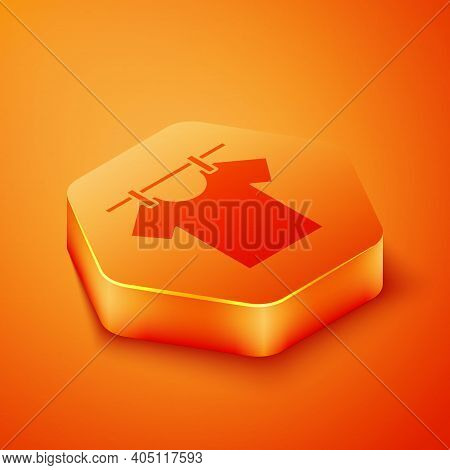 Isometric Drying Clothes Icon Isolated On Orange Background. Clean Shirt. Wash Clothes On A Rope Wit