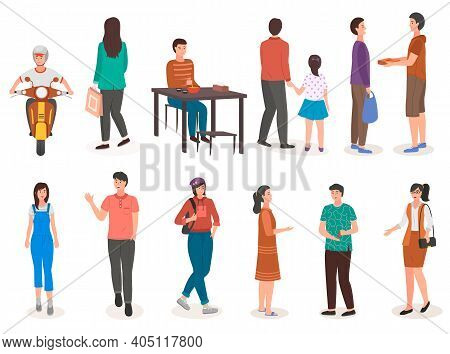 People In Various Lifestyles With Different Activities, Businessman, Woman, Teenager, Traveler, Frie