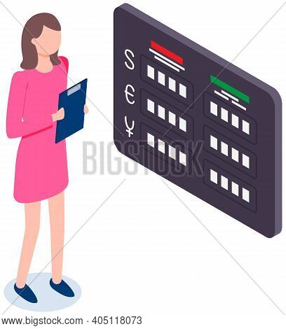 Woman Working With Bankbook And Cash In Bank. Desk At Foreign Office. Exchange Rate Board Concept. B