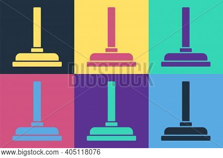 Pop Art Rubber Plunger With Wooden Handle For Pipe Cleaning Icon Isolated On Color Background. Toile