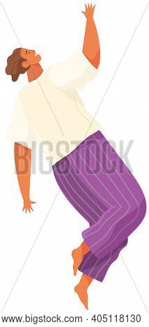 Cartoon Female Soaring And Flying In The Air Dreaming Person In Movement Pose Isolated On White Back