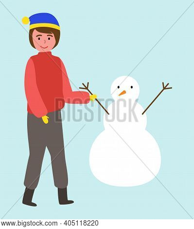 Illustration Of A Little Boy Near A Snowman On A Blue Background. The Child Made The Snowman. Active