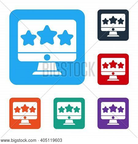 White Five Stars Customer Product Rating Review Icon Isolated On White Background. Favorite, Best Ra