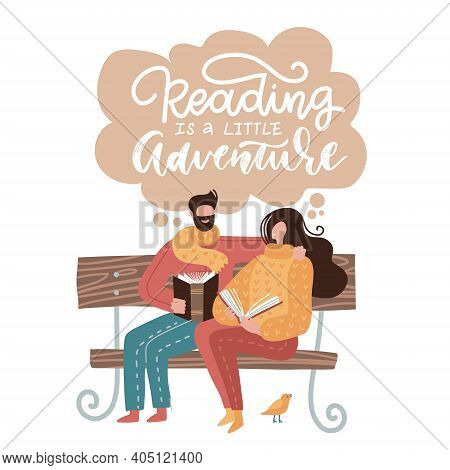 A Pair Of Young People Sitting On Bench In Park And Holding Books In Hands. A Couple Of Man And Woma