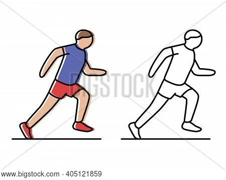 Run. Athlete Runs The Distance. Vector Icons In Flat Style