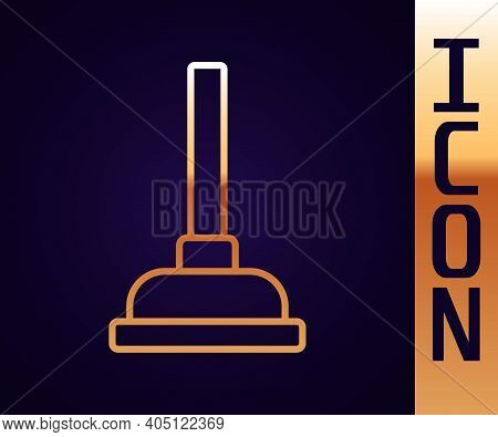 Gold Line Rubber Plunger With Wooden Handle For Pipe Cleaning Icon Isolated On Black Background. Toi