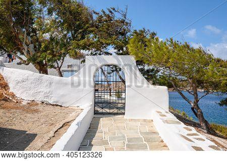 Entrance To The Church Of Agia Irini (saint Irene) Near The Port Of Ios. Cyclades, Greece