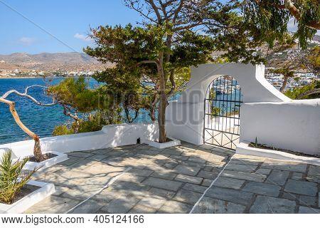 Terrace Overlooking The Sea Right Next To The Church Of Agia Irini (saint Irene) Near The Port Of Io