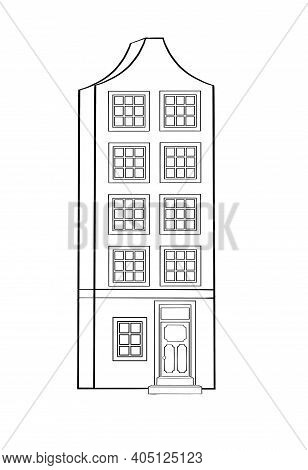 Private Residential Cottage House Flat Icon. Modern House And Architecture Residential House Isolate