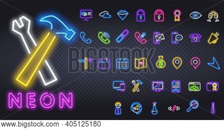 Business Icon Set Neon Sign, Symbol. Shop Colored Banner. Phone Communication Neon Signs Collection.