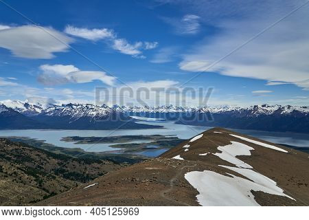 Blue Ice Of Perito Moreno Glacier In Glaciers National Park In Patagonia, Argentina From Far Away, V