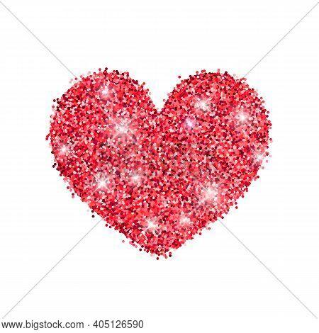 Red Gold Glitter Shiny Heart. Valentine Pink Sparkles Love Symbol. Vector Design Glitter Element On
