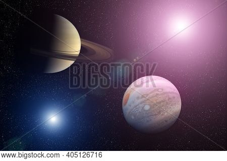 Great Conjunction: Jupiter And Saturn. Jupiter And Saturn Meet In The Space Solar System. Elements O