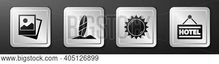 Set Photo, Surfboard, Sun And Signboard With Text Hotel Icon. Silver Square Button. Vector