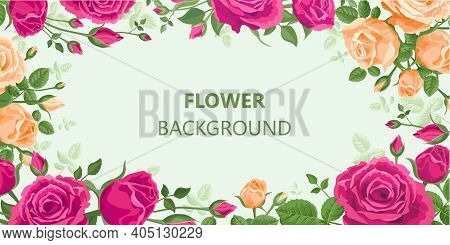 Floral Background. Roses, Buds And Leaves In Retro Style With Copyspace. Pink, Red, Purple, Orange C