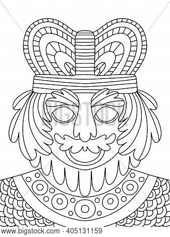 Funny Smiling King Coloring Page For Kids And Adults Vector. Cartoon King With Crown, Mustache, Bear