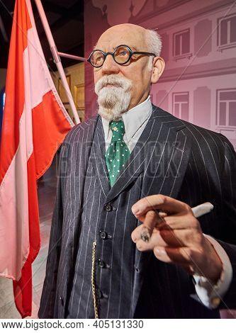 Vienna, Austria - September 2018: Karl Renner Wax Figure In Madame Tussauds Museum