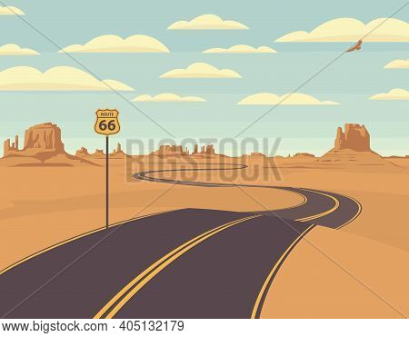 Vector Illustration Of A Highway In The Desert And Mountains. Summer Landscape With Empty Road. Hist