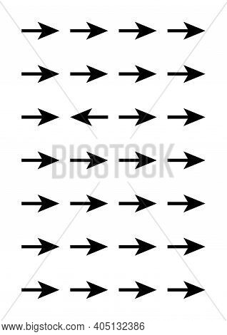 Geometrical poster. Black arrows on transparent background. Geometrical shapes - one is different from the rest. For cover, banner, card, booklet. Ideal funny gift for perfectionist.