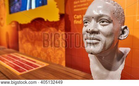Vienna, Austria - September 2018: Will Smith Mask In Madame Tussauds Museum