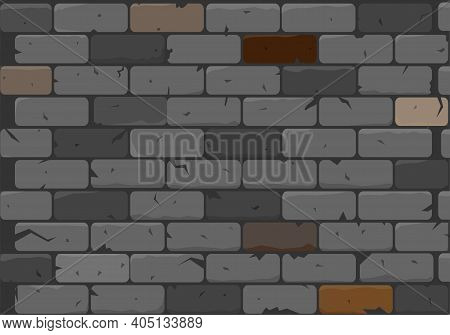 The Texture Of The Brickwork Is Done In Gray. Vector Illustration