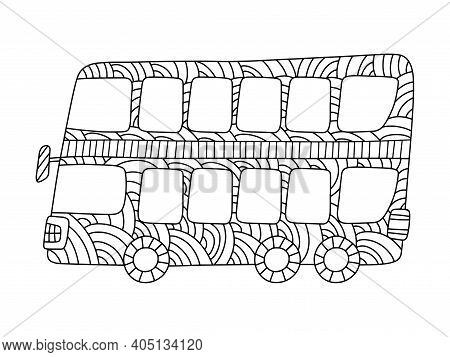 Double-decker Bus Coloring Page For Kids And Adults Stock Vector Illustration. Funny Horizontal Bus