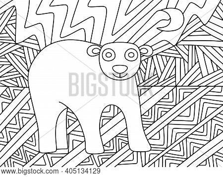 Polar Bear Ornament Stock Vector Illustration. Polar Bear On Arctic Landscape Zen Art. Wildlife Anti