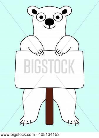 Funny Polar Bear With Poster On Blue Background Stock Vector Illustration. Happy International Polar
