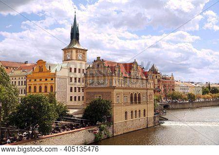 Bedrich Smetana Museum On The Banks Of The Vltava River.  Praha, Czech Republic. August 2018.