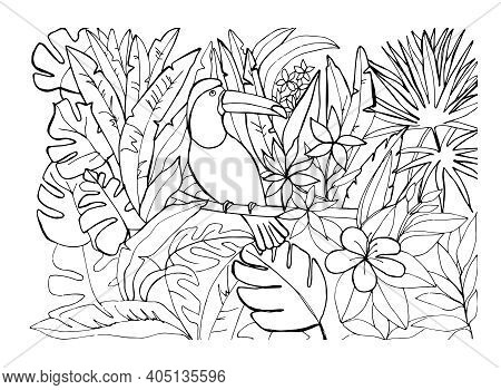 A Toucan Bird Sitting On A Branch In A Tropical Forest Among Palm Trees, Lianas And  Leaves, Flowers