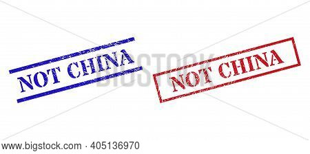 Grunge Not China Rubber Stamps In Red And Blue Colors. Stamps Have Distress Surface. Vector Rubber I