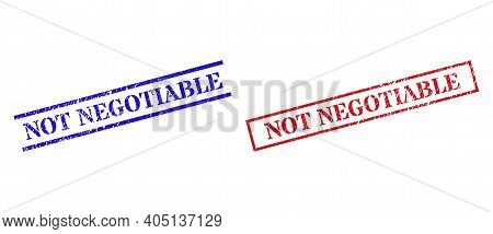 Grunge Not Negotiable Seal Stamps In Red And Blue Colors. Stamps Have Rubber Surface. Vector Rubber
