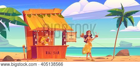 Woman Buying Cocktail In Tiki Hut Bar With Barman On Hawaii Beach, Smiling Girl In Summer Dress Carr