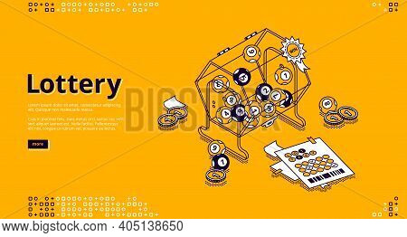 Lottery Banner. Gambling, Win In Bingo Games Concept. Vector Landing Page Of Games Of Luck With Isom